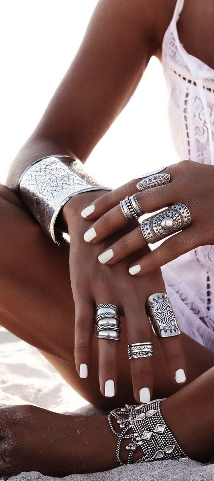 white-nails-tan-boho-rings