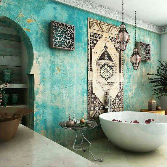 blue-wall-boho-bathroom