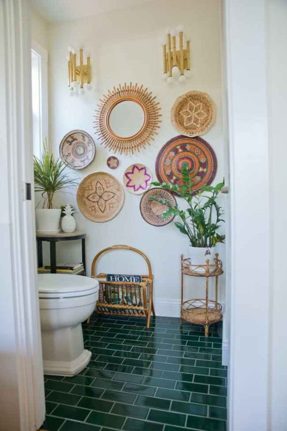 green-tiled-boho-bathroom