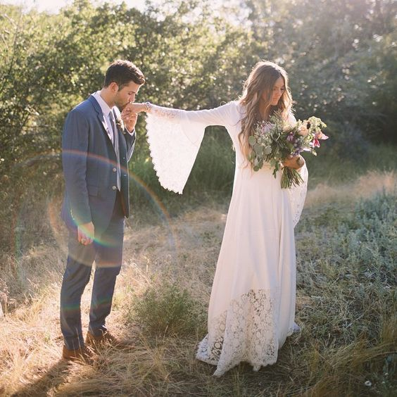 boho-wedding-dress-flare-sleeves