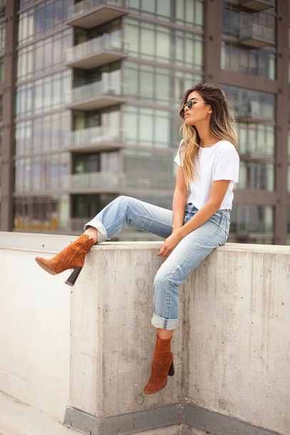 jean and t-shirt outfits with boots