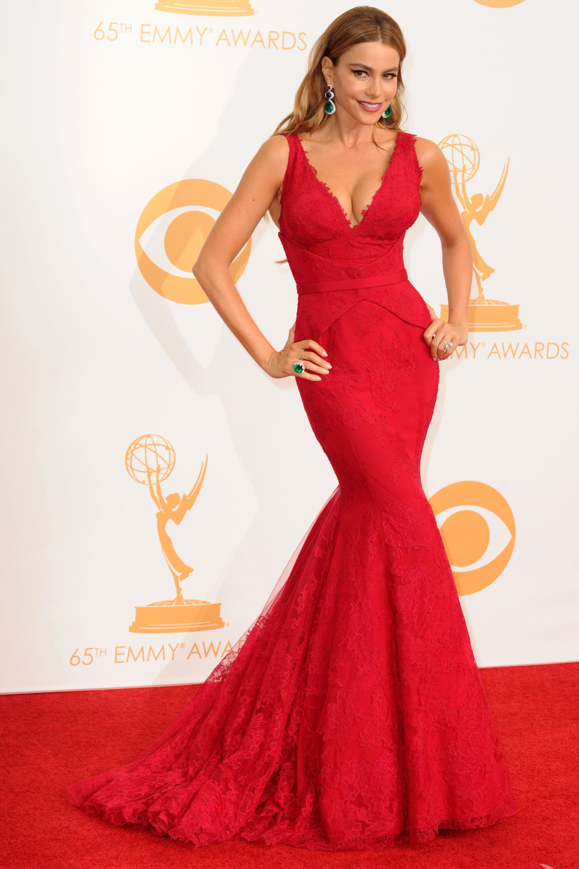 LOS ANGELES, CA - SEPTEMBER 22: Sofia Vergara poses at the 65th Annual Primetime Emmy Awards at Nokia Theatre L.A. Live on September 22, 2013 in Los Angeles, California. (Photo by Steve Granitz/WireImage)