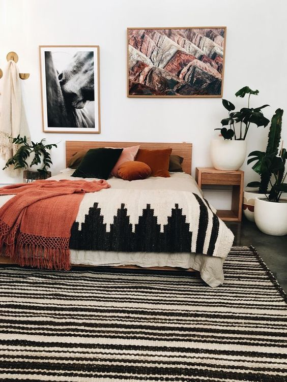 bohemian-orange-bedroom