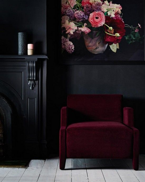 burgundy-and-black-home-decor