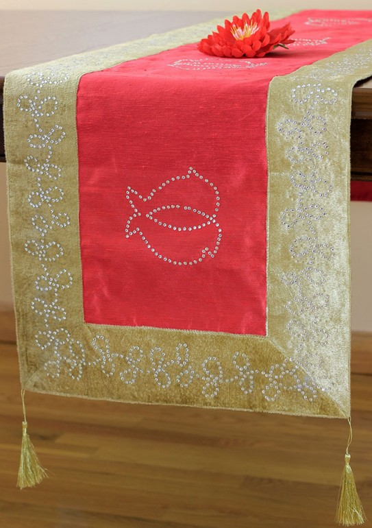 Velvet Sparkle Indian Table Runner Banarsi Designs