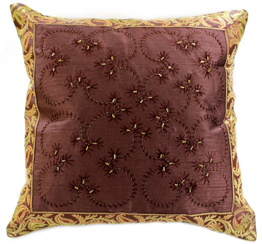 Hand Embroidered Beaded Throw Pillow Cover