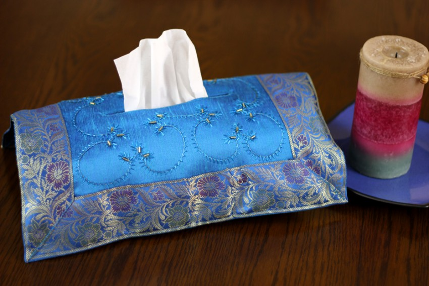 Hand Embroidered Decorative Tissue Box Cover