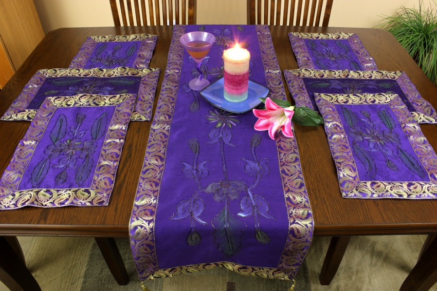 Hand Painted 7 Piece Placemat Amp Table Runner Set Banarsi
