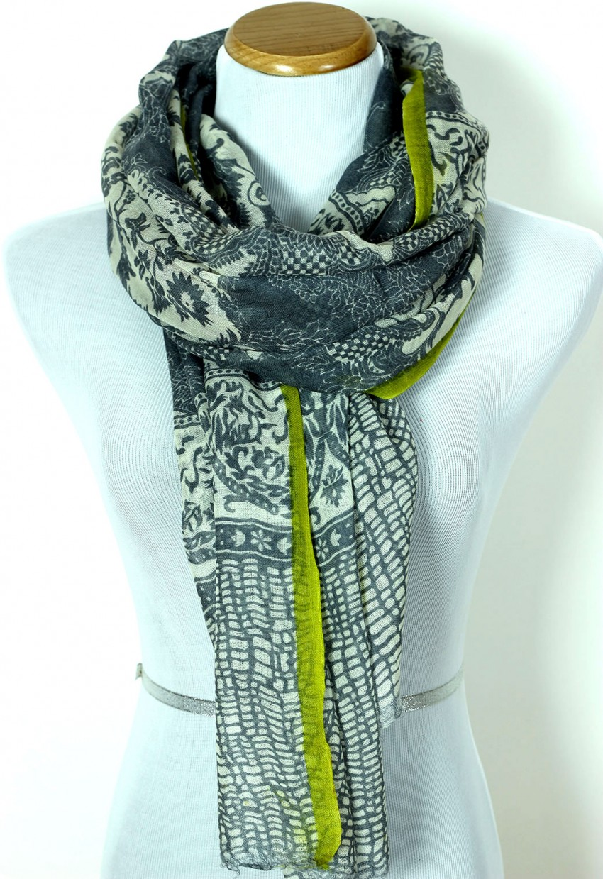 Abstract Floral Wool Scarf Banarsi Designs